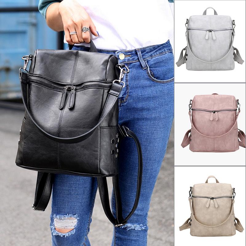 Fashion Ladies Women PU Leather Handbag Tote Messenger Shoulder Bag Backpack