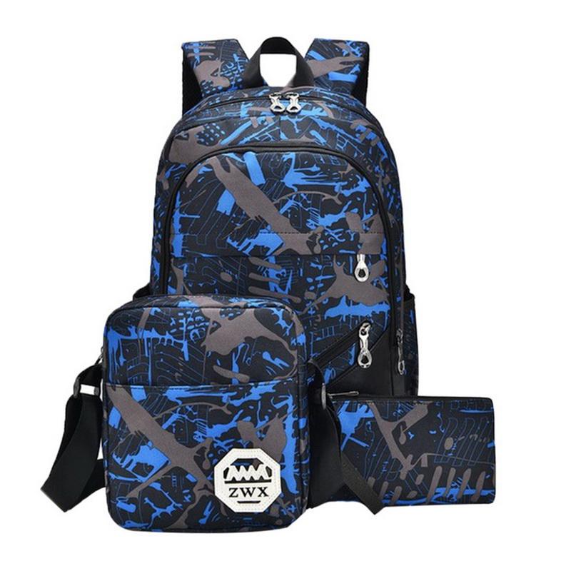 3Pcs//Set Girls Boys Large Camouflage Backpack Rucksack School Bag Travel Bag BIG