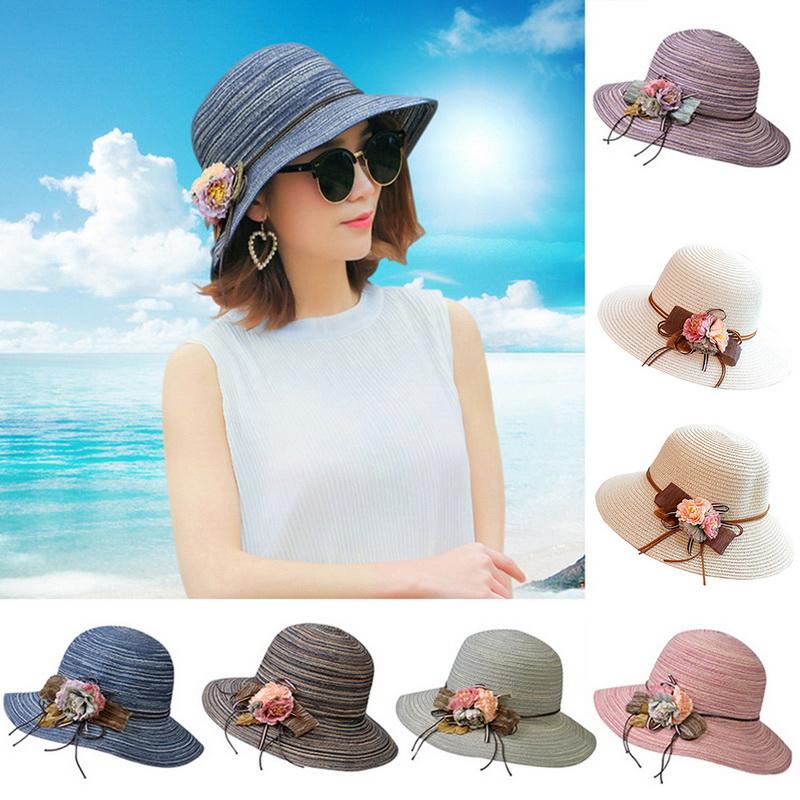 a668a1abe Details about Women Ladies Summer Big Wide Brim Cotton Hat Floppy Derby  Beach Sun Foldable Cap