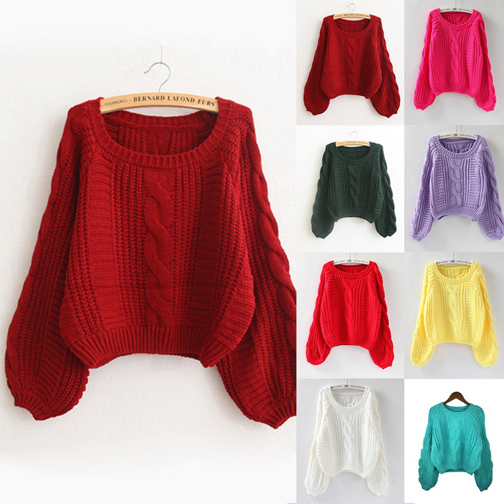 New Ladies LongSleeve Cable Knitted Casual Basic Sweater Jumper Baggy Winter Top