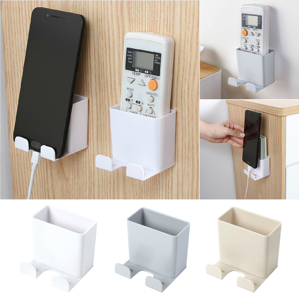 Remote Control Storage Box Wall Mount Nail Free Phone Rack Plug Holder Container