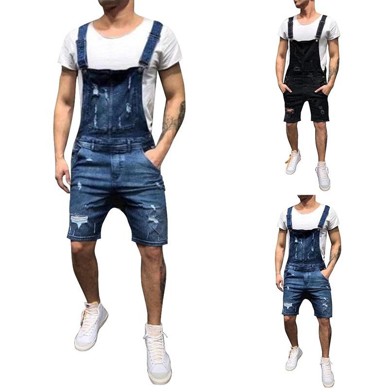 Men Short Denim Dungaree Bib Overalls Jumpsuits Moto Biker Jeans Pants Trousers