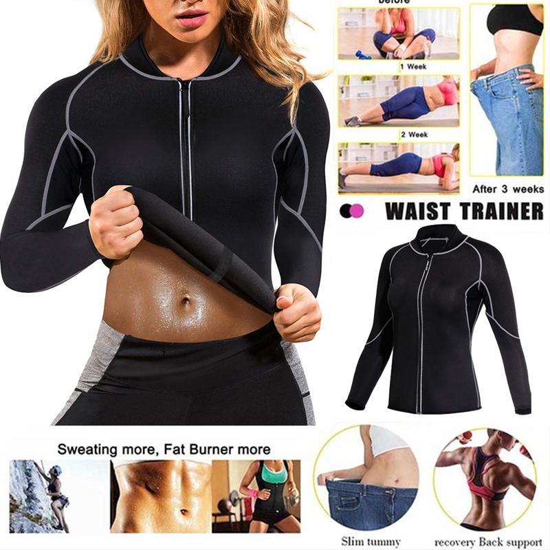 Women Hot Sweat Weight Loss Shirt Neoprene Body Shaper Sauna Jacket Suit Workout