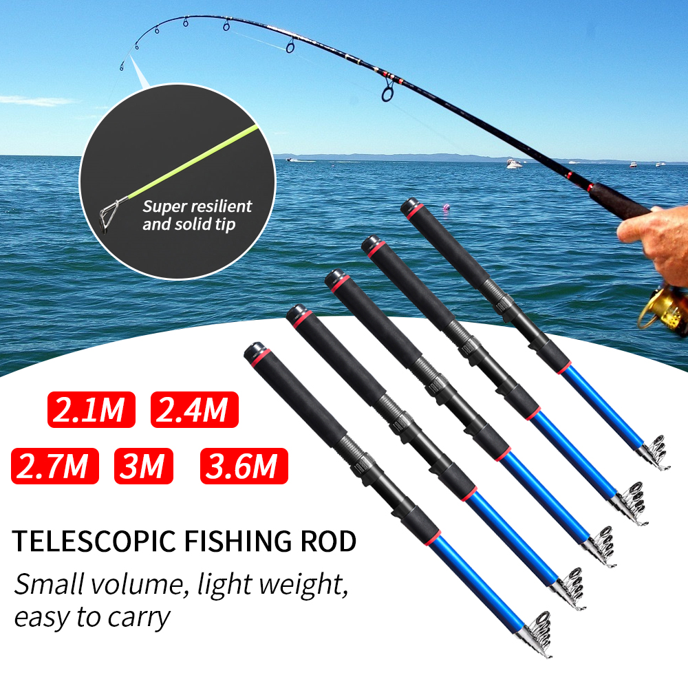 1.8-3.6M Portable Carbon Fiber Telescopic Fishing Rod Sea Spinning Pole Supply