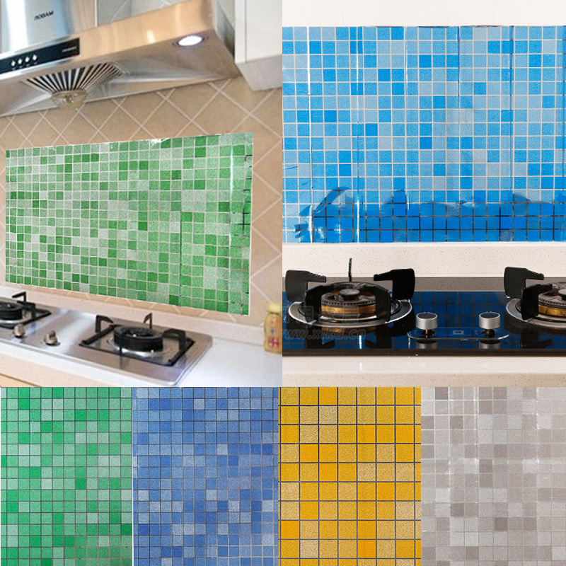 Kitchen Self adhesive Waterproof Oil-proof Wallpaper Mosaic Tile Stickers Decor