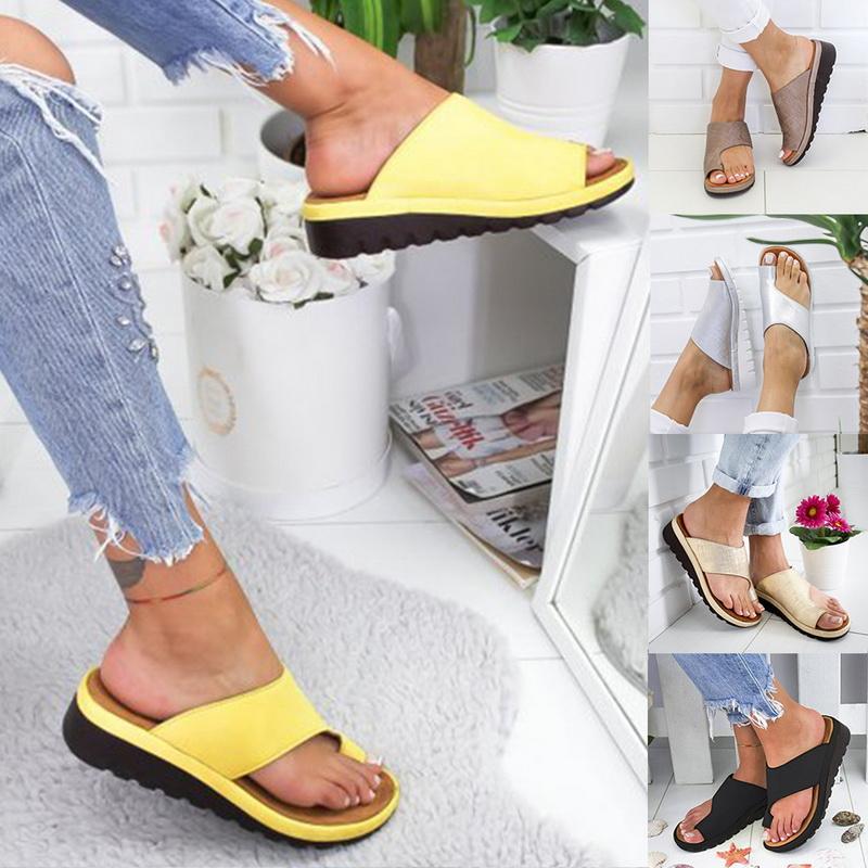 Details about Womens Comfy PU Platform Sandal Shoes Beach Sandals Leather Bunion Corrector AU