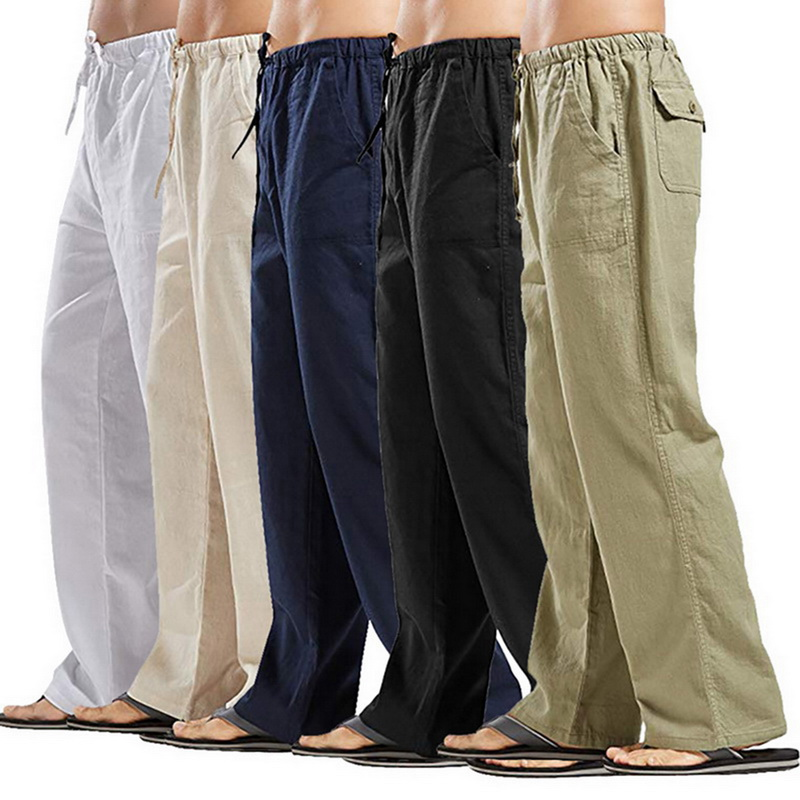Mens Cotton Linen Drawstring Loose Pants Soft Beach Yoga Jogger Casual Pants New