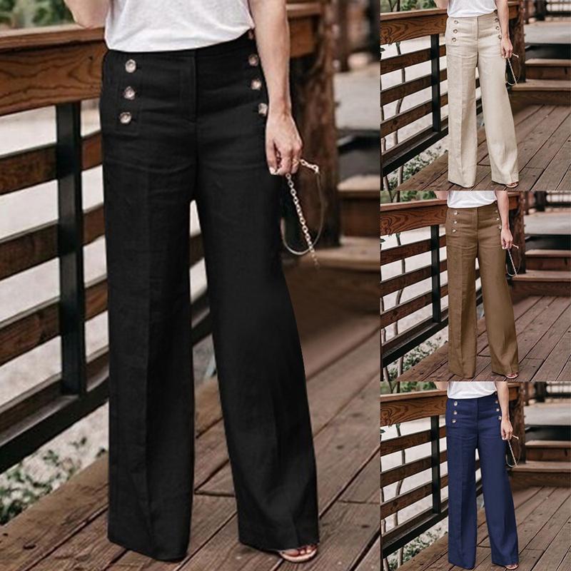 Women Linen Cotton Wide Leg Casual Pants High Waist Breathable Long Trousers UK