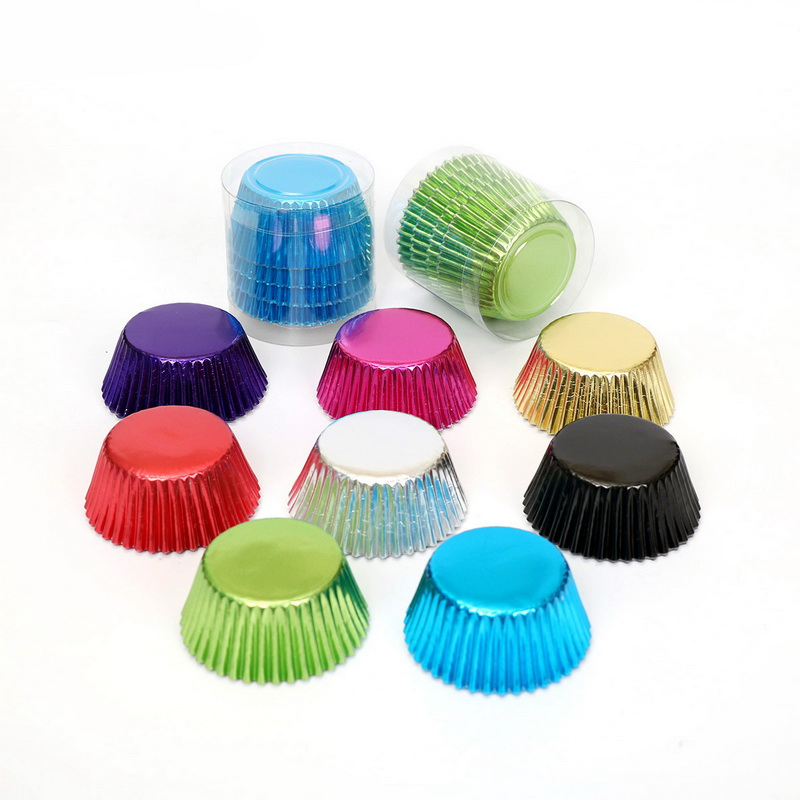 100 Foil  Paper Coloured Cupcake Cases Liners Muffin Baking Cake Cup ZP