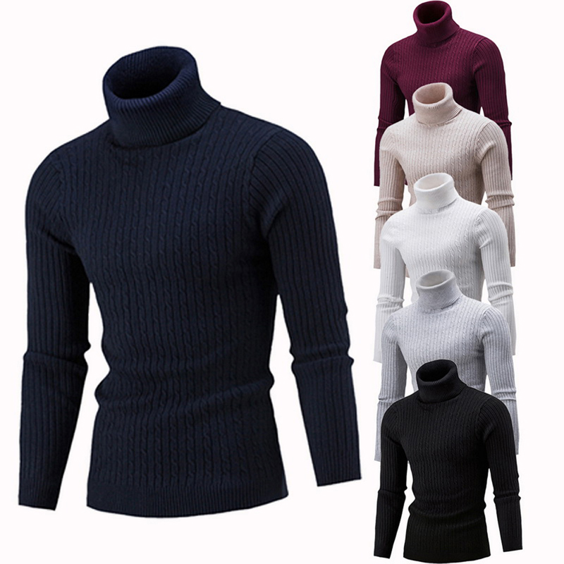 Men Knitwear Jumper Slim Fit Casual Sweater Top Winter Fine Turtle High Roll Neck Knitted Pullover Color : Wine Red, Size : XXL