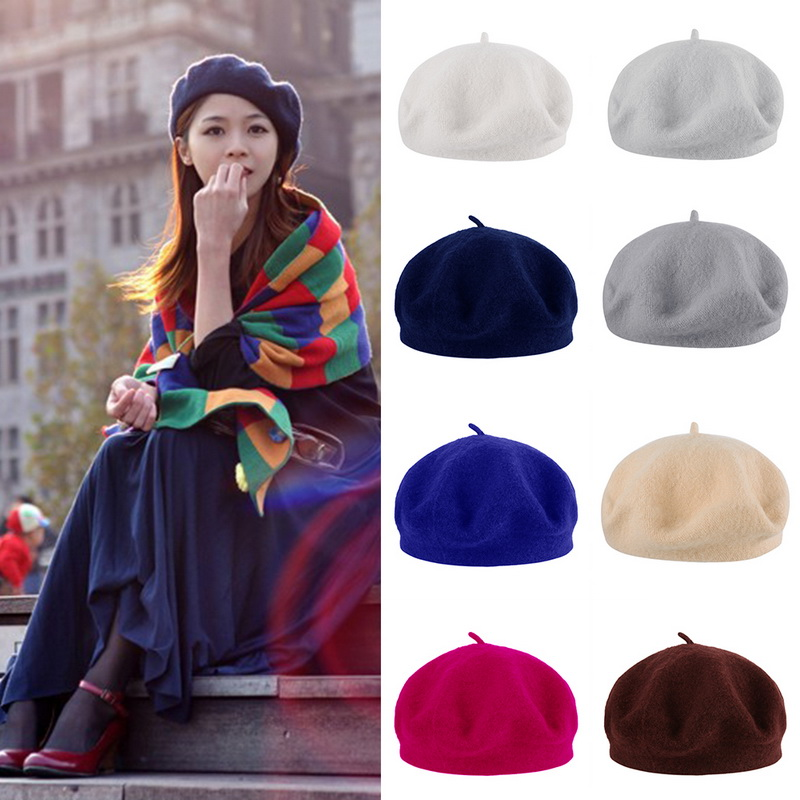 Beret Hats Parent-child Classic Princess Painter New Fashionable Wool Wild Cap