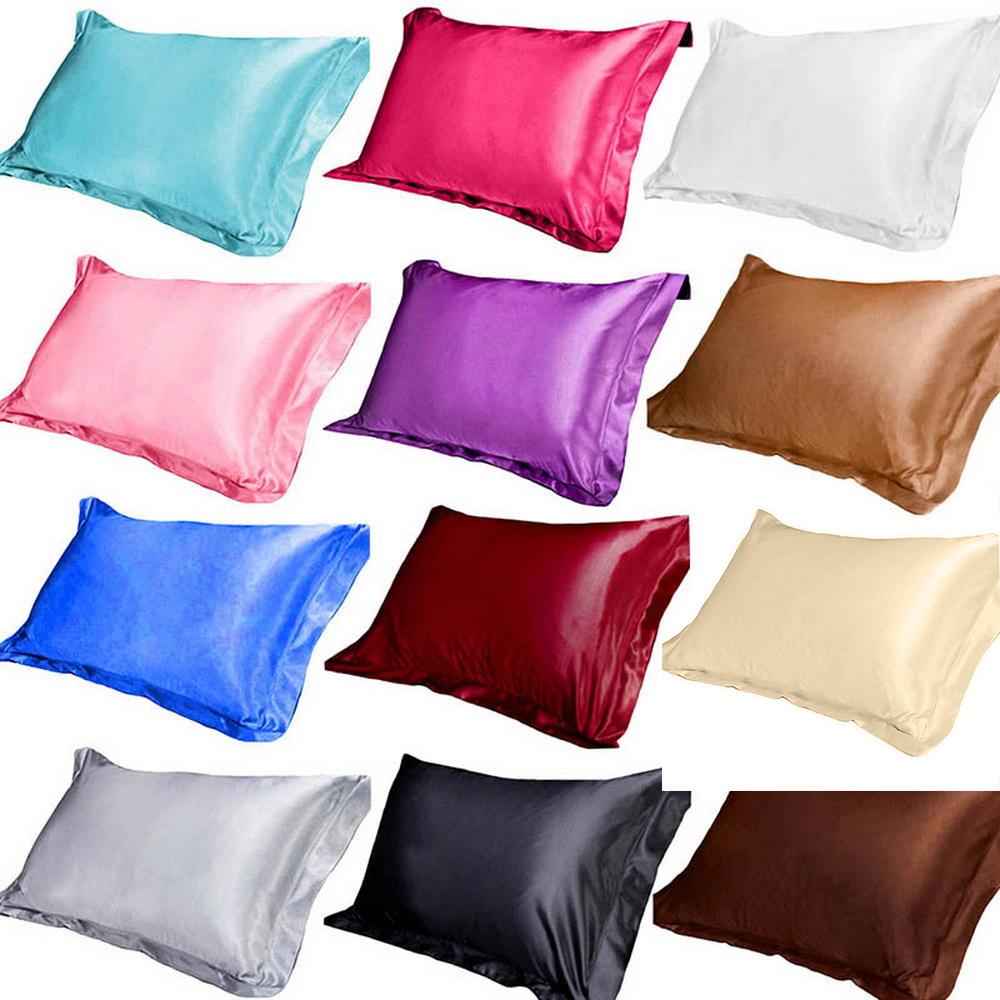 1//2 Pcs Soft Bedding Throws Queen Silk Pillowcase Home Decor Satin Cushion Cover