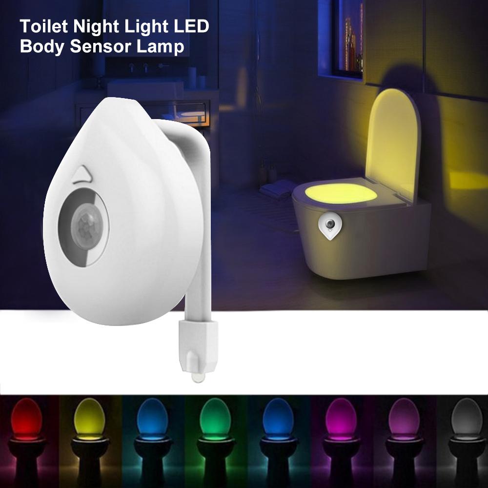Motion Sensor LED Bathroom Toilet Night Light 8 Colors