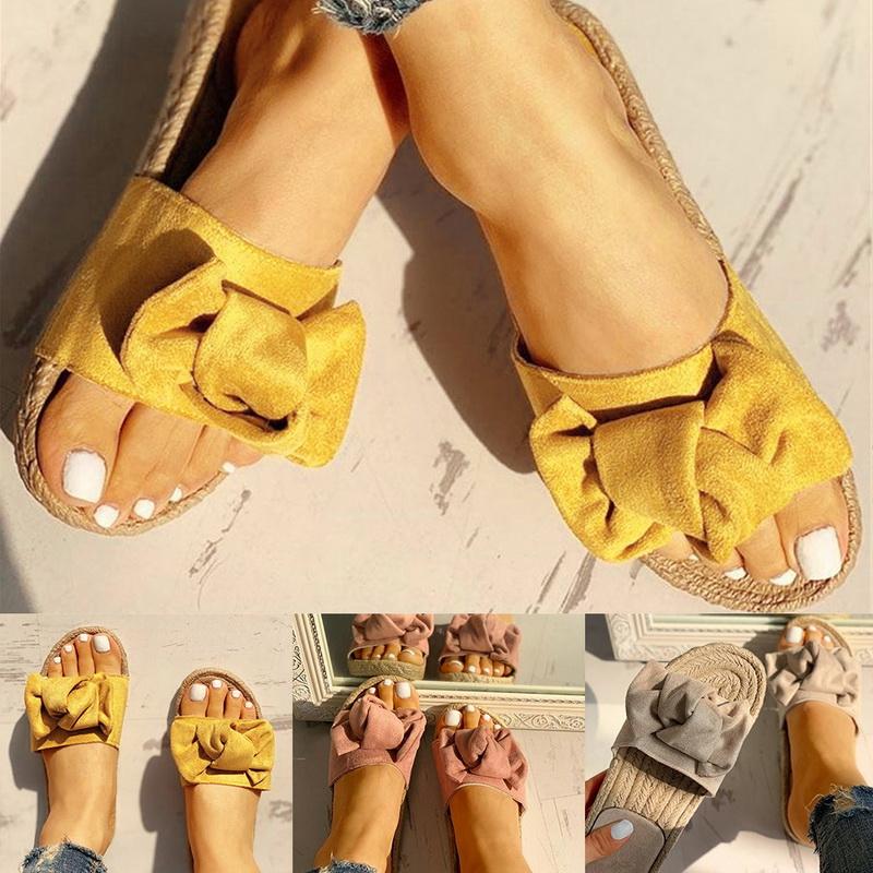 2019 Womens Slip-On Sliders Bow Comfy Flatform Ladies Mule Summer Comfy Sandals