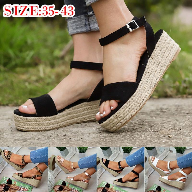 2231e950157 Details about Summer Women Ankle Strap Platform Sandals Espadrille Comfy  Lady Flatform Shoes
