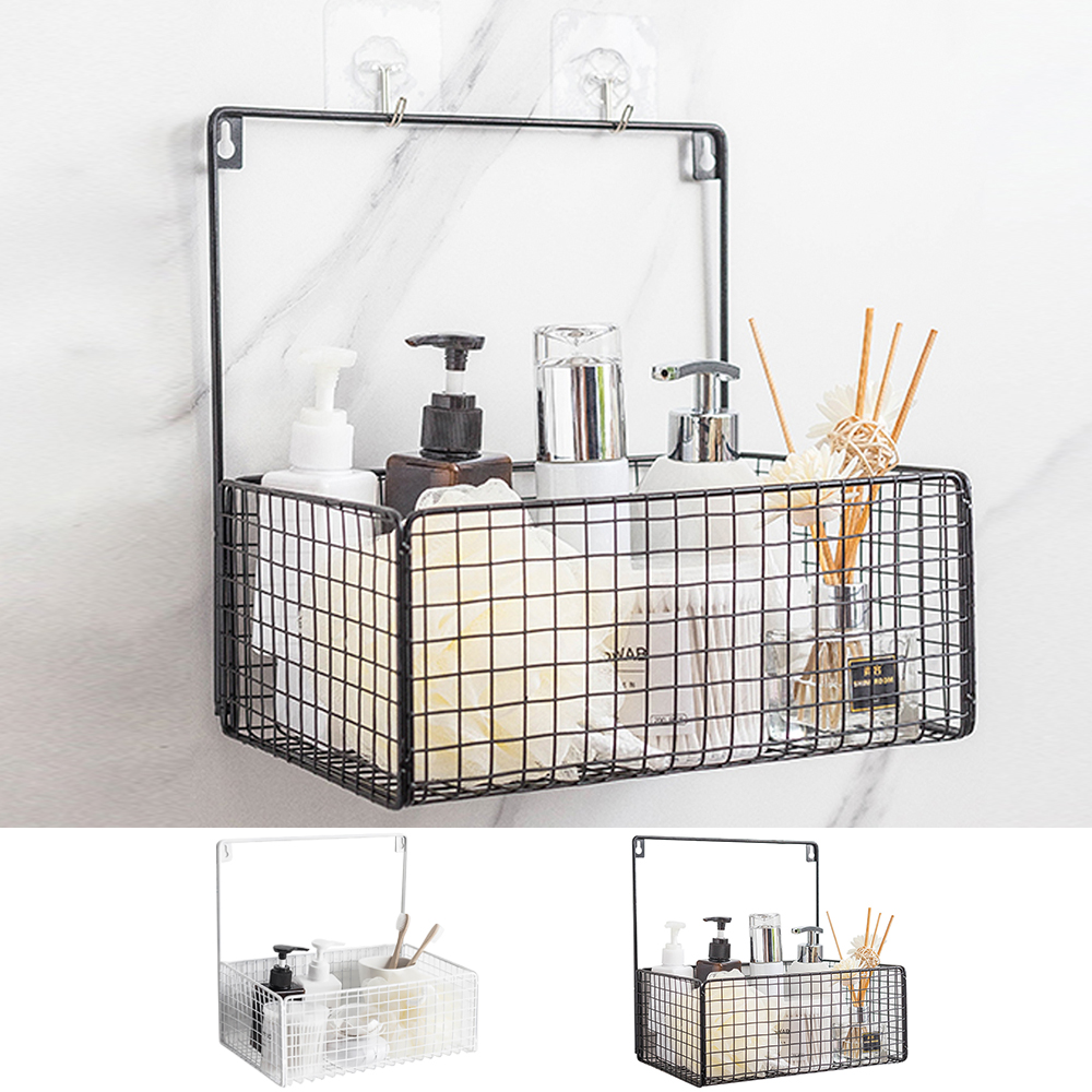 Details about Wire Wall Mounted Shelf Toiletries Storage Iron Basket  Kitchen Bathroom Rack NEW