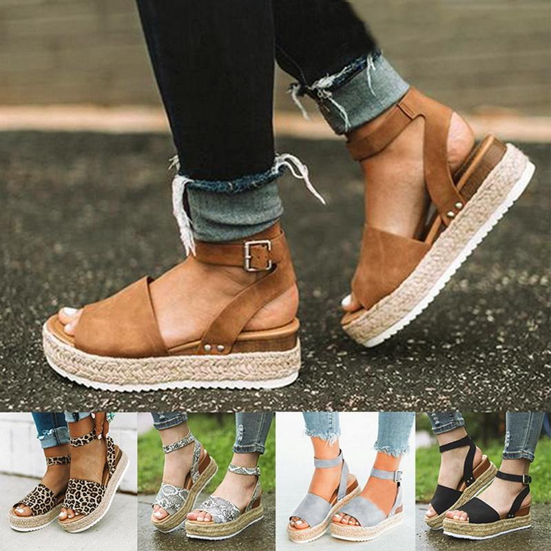 Women Ankle Strap Flatform Wedges Shoes Espadrilles Summer Platform Sandals  LOC