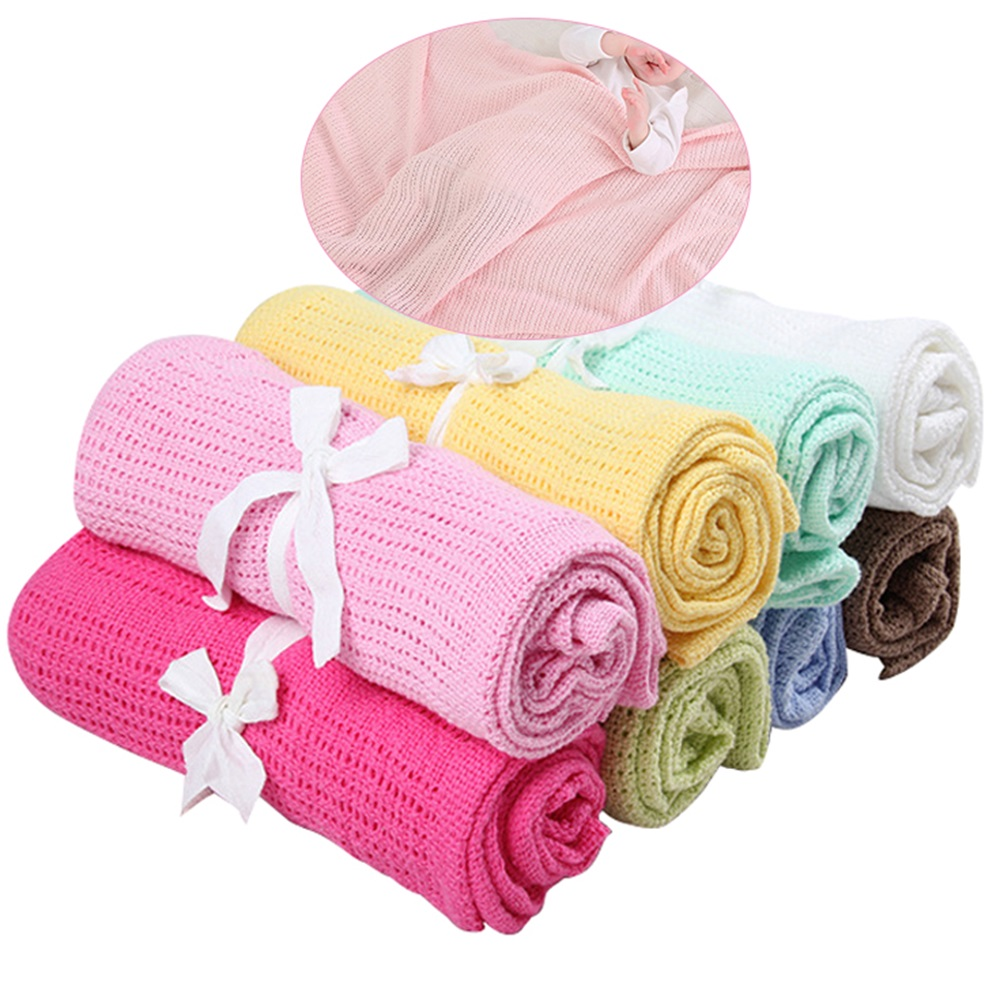 Pure 100/% Cotton Cellular Baby Blanket  Pram Cot  Moses Basket pink white blue