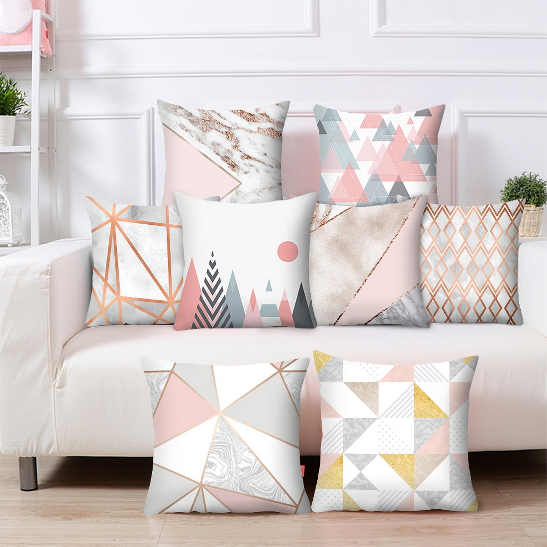 Marvelous Details About Modern Rose Gold Cushion Cover Geometric Pillowcase Sofa Bed Decor Pink Grey Caraccident5 Cool Chair Designs And Ideas Caraccident5Info