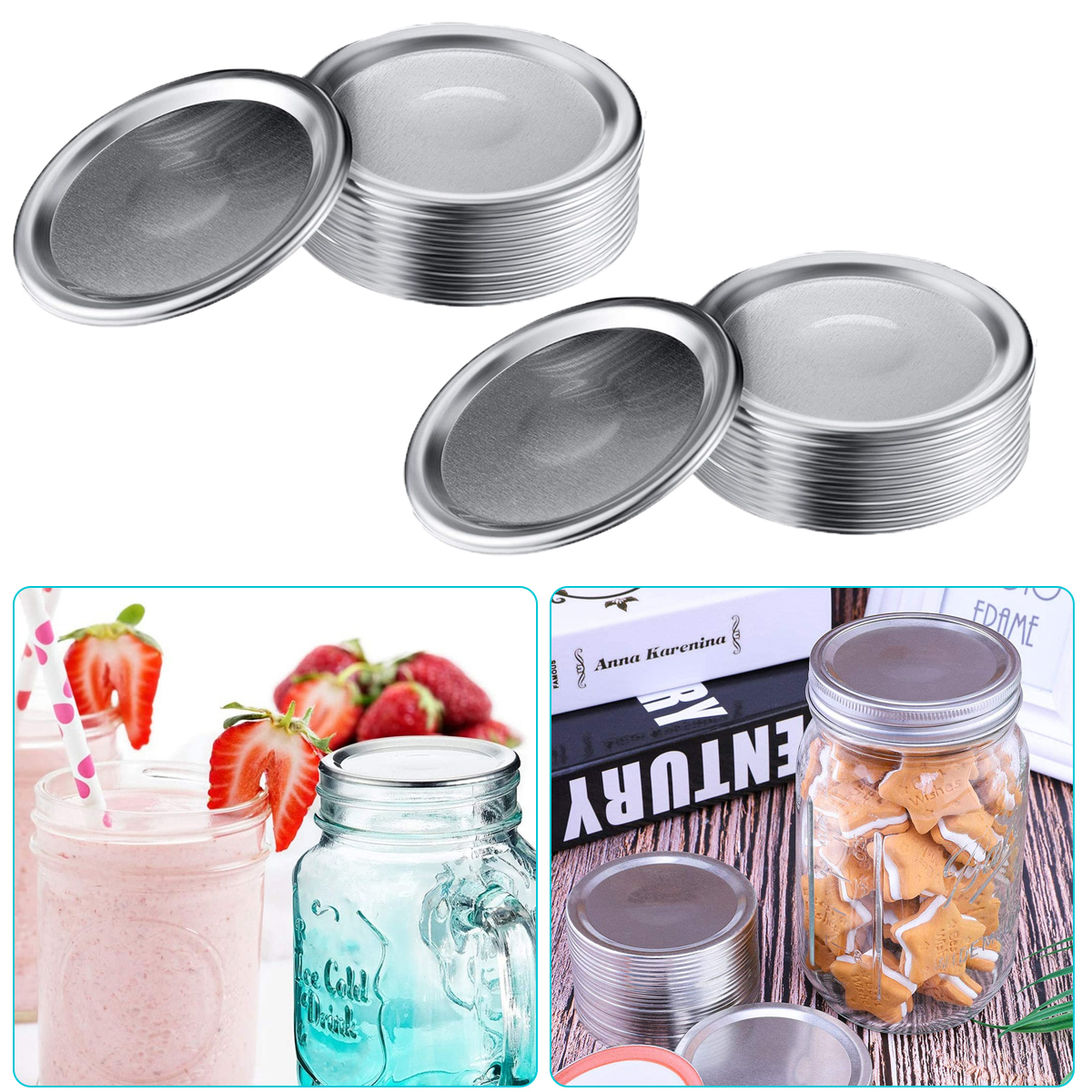 WDong 48 Pcs Canning Lids with Silicone Seals Rings Split-Type Reusable Leak Proof Storage Solid Canning Jar Caps Regular Mouth Mason Jar Lids 86mm, Silver