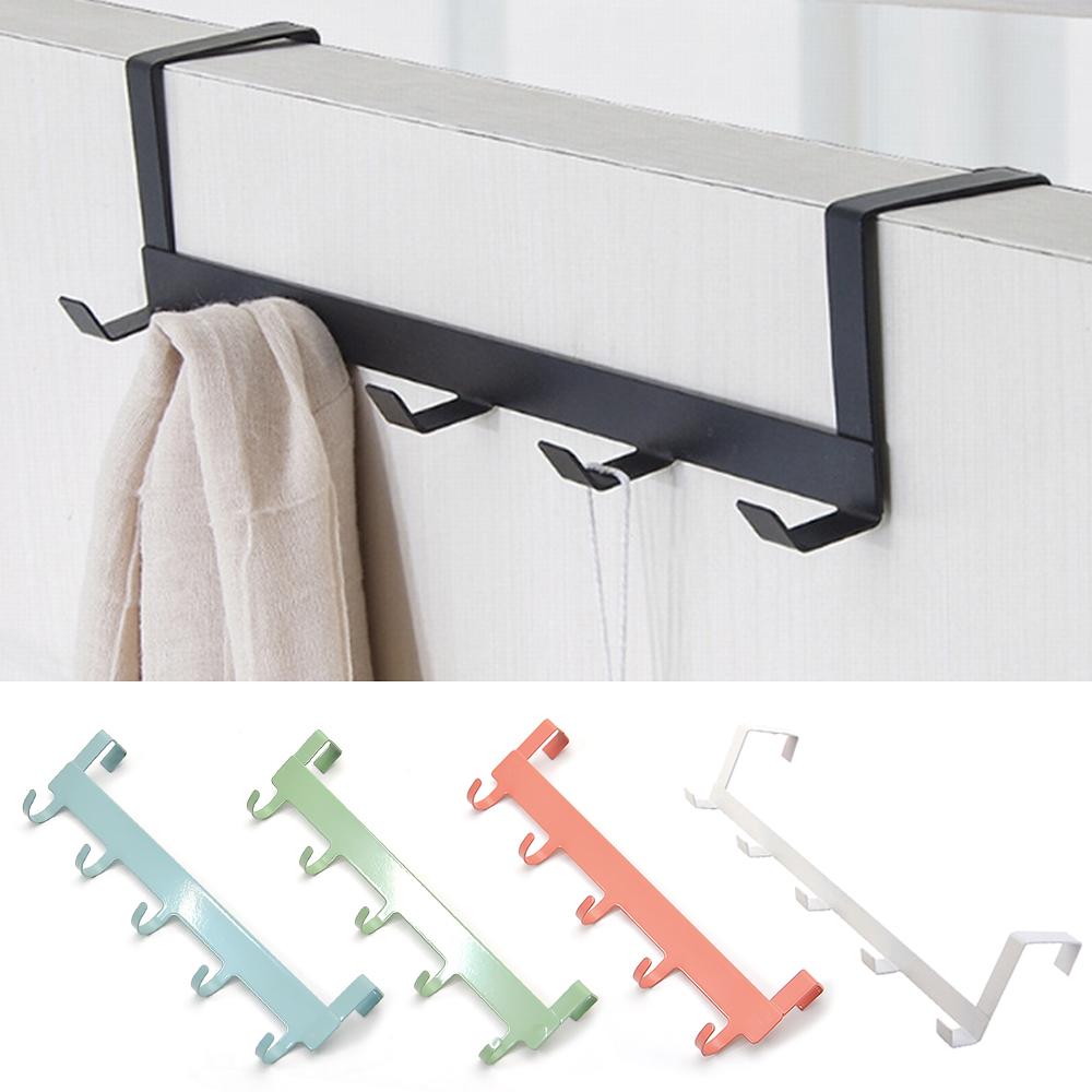 Over Door Hooks Metal Over Door Hanger Hooks Modern Black 5 Hooks Rack Organiser for Coat Key Bag