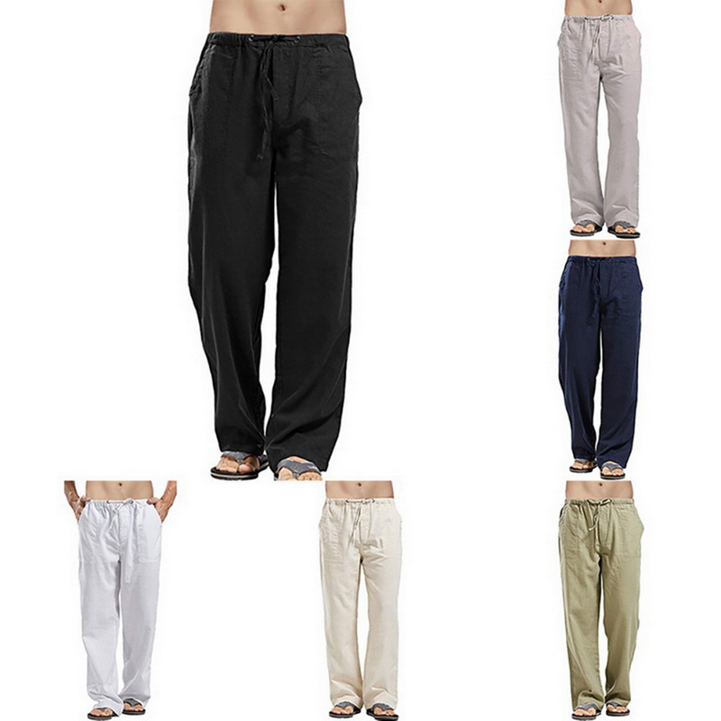 Mens Casual Cotton Linen Trouser Comfortable Breathable Loose Fit Sweatpant Summer Beach Elastic Waist Drawstring Long Pants