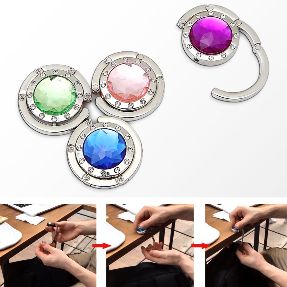 2xPortable Crystal Folding Section Purse Bag Handbag Hook Table Hanger New US