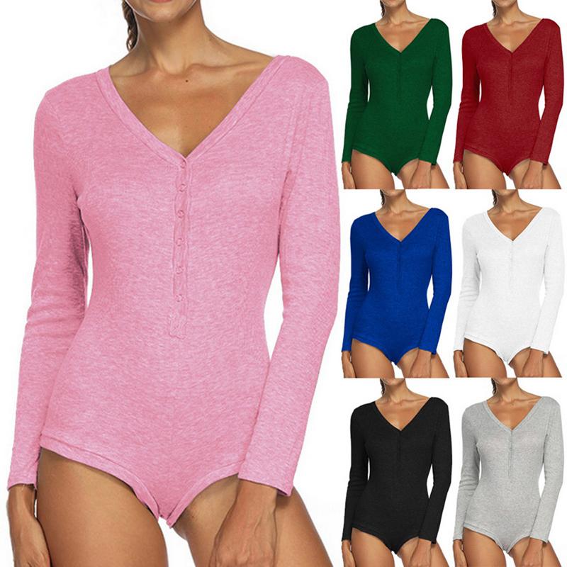 Womens Bodycon Bodysuit Long Sleeve Bandage Knitted Jumpsuit Romper Leotard Tops