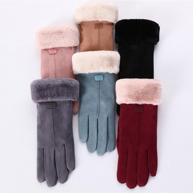 Leather Gloves Fur Ladies Mittens Women Winter Sheepskin Genuine Windproof Warm