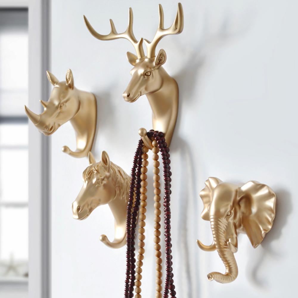 Gold Deer Head Wall Door Hooks Hanger For Rack Key Clothes Coat Hat Bags Towel
