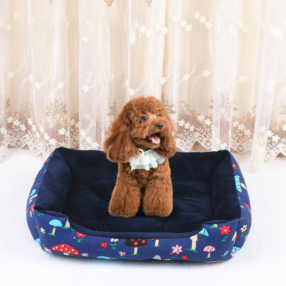 Pet Dog Cat Bed Cushion Winter Warm Mat Kennel Canva Stripe Pad Nest Crate House