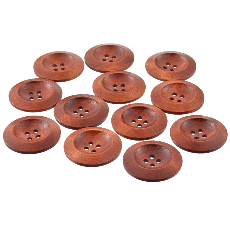 50Pcs Wooden Round Buttons With 4 Holes Sewing Craft Coffee