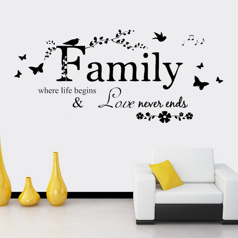 decal removable art family beautiful flower wall stickers home words