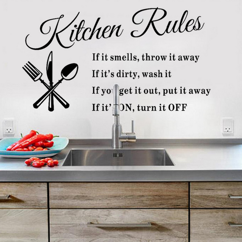 diy removable kitchen words wall stickers decal art mural home decor