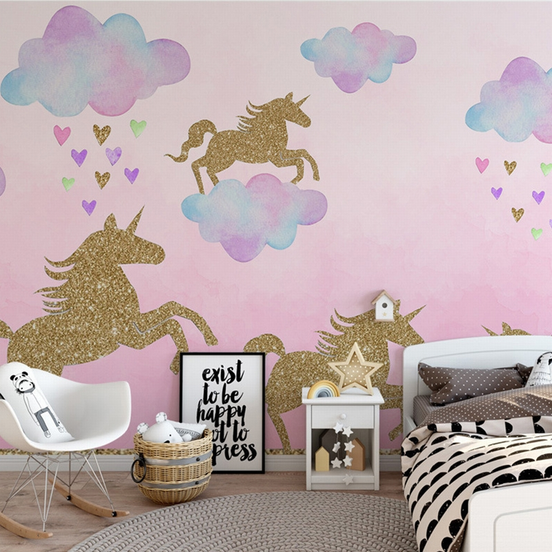 Baby Children Bedroom Wall Decals Golden Glittering Animal Wall ...