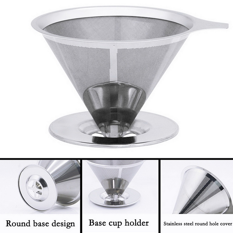 Reusable Stainless Steel Coffee Filter Holder Pour Over Mesh Tea Dripper Cup