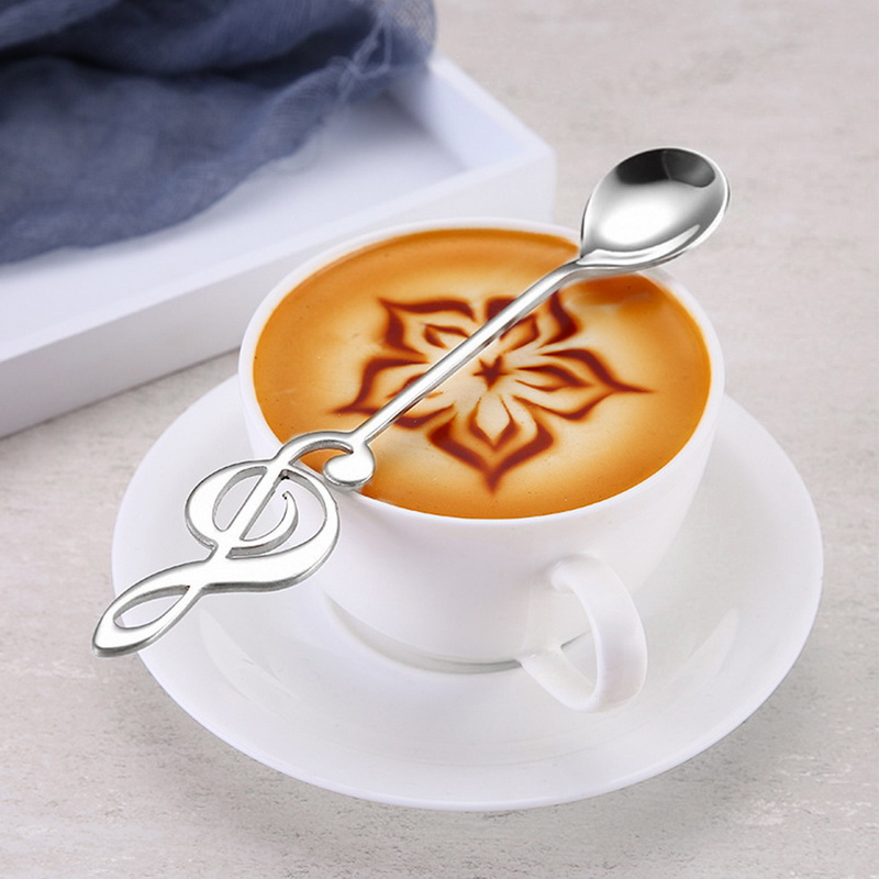 1PCS Stainless Steel Music Note Shape Coffee Spoons Tea Stirring Spoon Stylish
