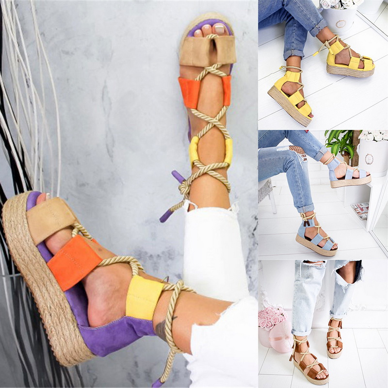 Women Platform Slipper Rope Shoes Sandals Buckle Strap Casual Fish Mouth Shoes