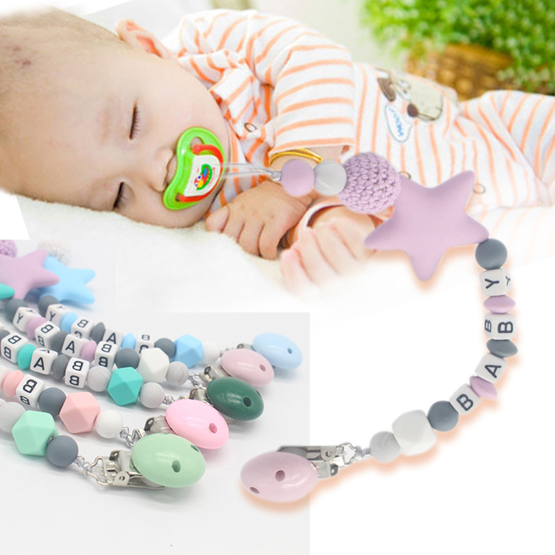 New Pacifier Clips Pacifier Teething Baby Teether Chain Clip Bead Dummy Holders