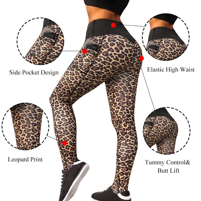 ed3247e4f1ea0d Women Leopard Print Yoga Pants High Waist Pocket0 Workout Long Sport  Leggings