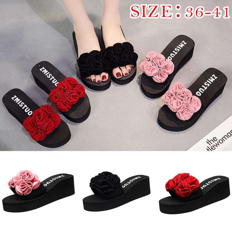 fbdec96a30311 Details about Summer Women Flower Beach Flops Flat shoes Sandals Wedge  Heels Anti-Slippers