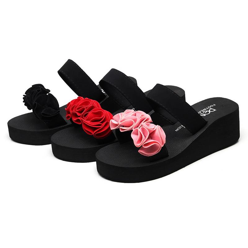 9f700333fe0c Womens Summer Wedge Slippers Flowers Flip Flops Summer Platform Beach Shoes