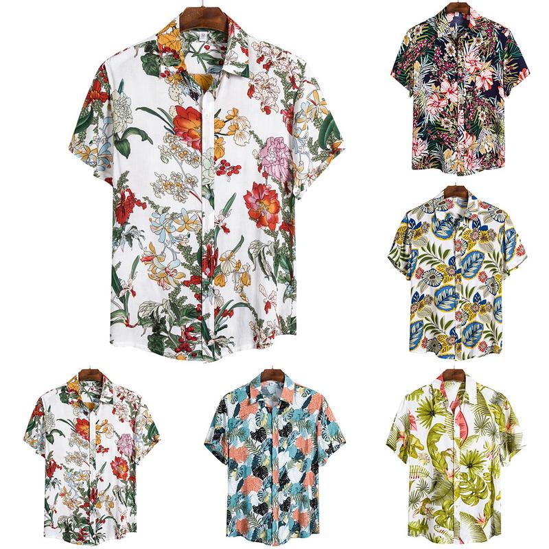 MSMIRROR Tree Printing Mens Hawaiian Shirt New Summer Floral Printed Short Sleeve Shirts