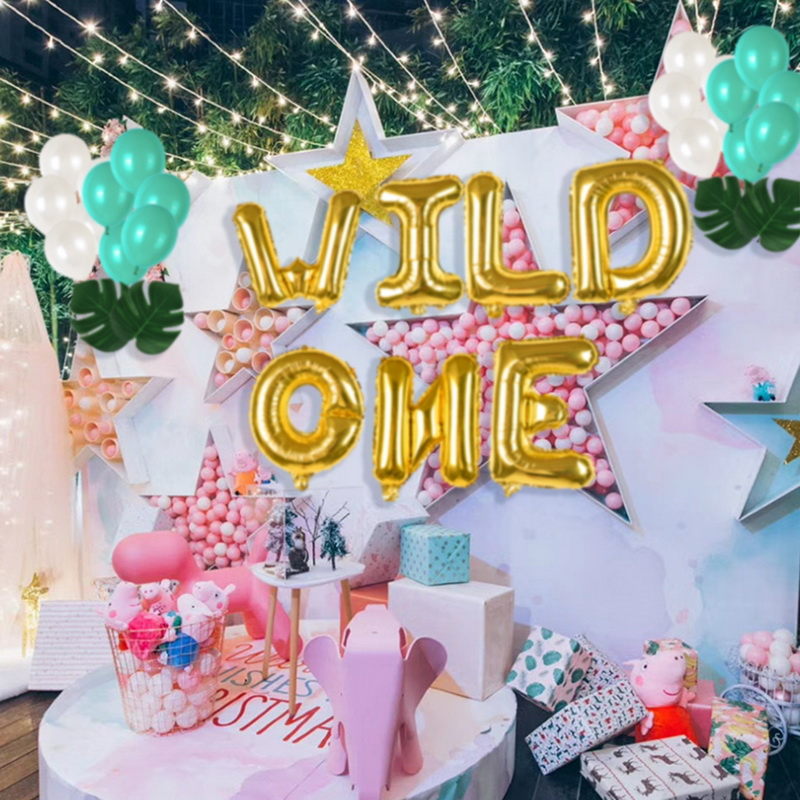 Details About 16 WILD ONE Kids First Birthday Balloons Baby Girl Boy 1St Bday Party Supplies