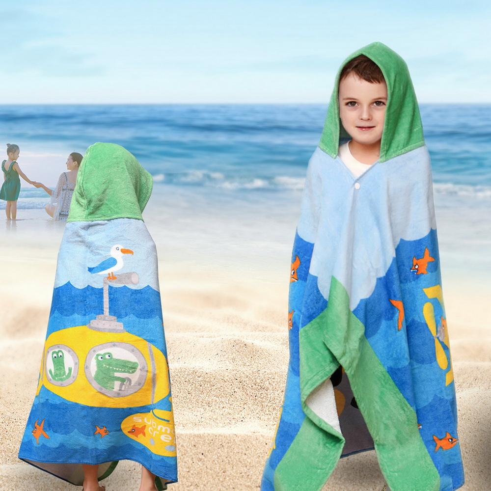Child Kids Hooded Poncho Swim Beach Bath Towel Wear Bathrobe Washcloth Gift DS