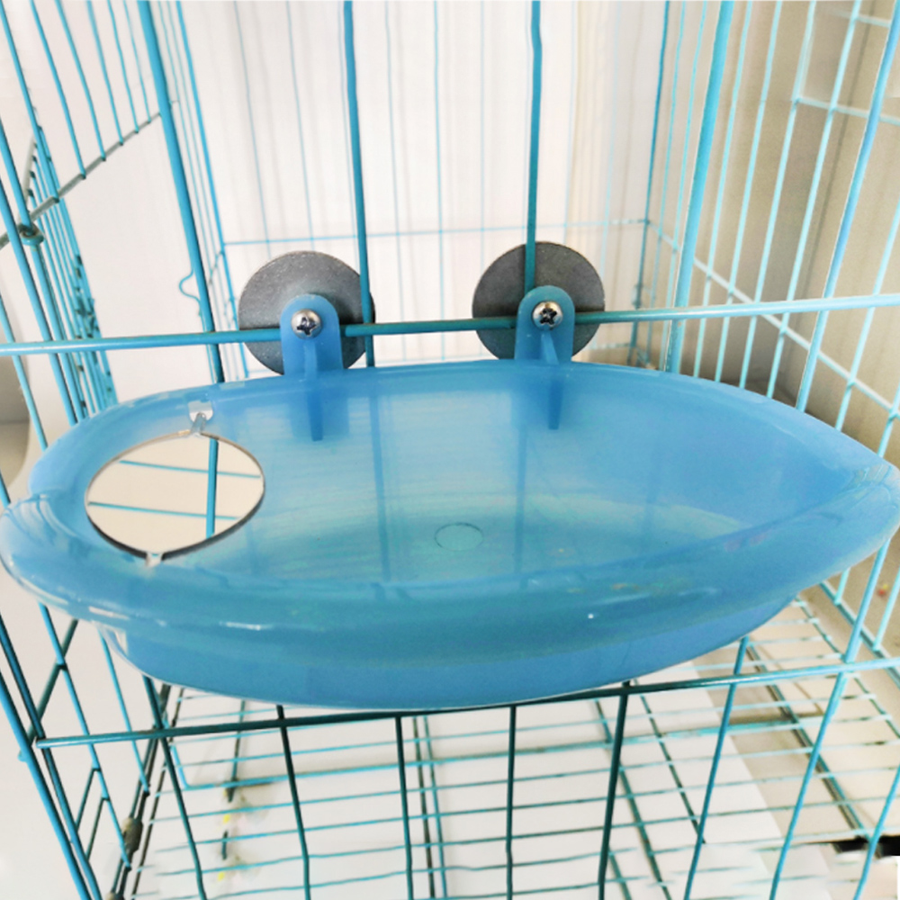 Bird Cage Bath Basin With Mirror For Pet Small Bird Parrot