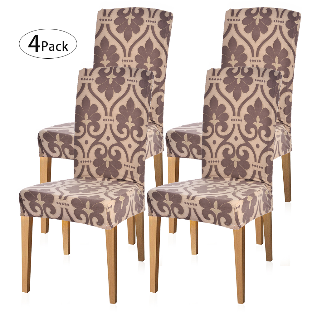 Amazing Details About 4X Brown Floral Stretch Dining Room Chair Covers Seat Cover Slipcover Wedding Hl Machost Co Dining Chair Design Ideas Machostcouk