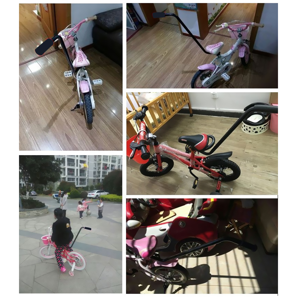 New Bike Push Handle Bar Safety Pole Control For Training Child Bicycle Black