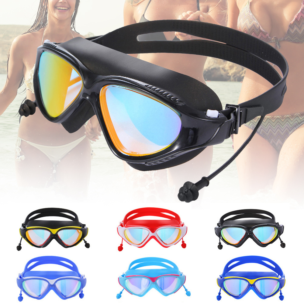 a5e4b3db97b9 Details about Mirror Swimming Goggles Anti-Fog Swim Glasses UV Protection  with Ear Plug Adult