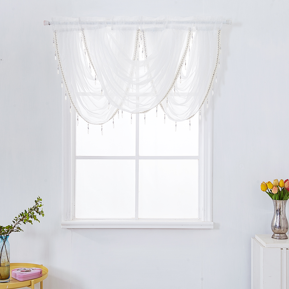White Lace Floral Voile Curtain Panel Window Balcony Tulle Room Divider Valances